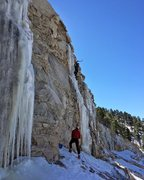 Road cut near the top of Mt Lemmon, Jan 28, 2017. Two founding members of the DICC getting after the fleeting Southern AZ ice!