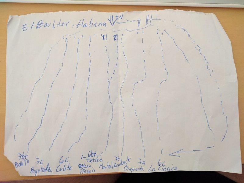 Rock Climbing Photo: This is the handdrawn TOpo of the boulder and rout...