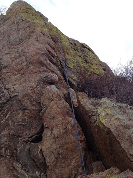 The route climbs mostly to the left of the rope except at the bottom.