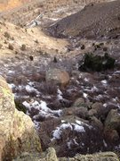 Rock Climbing Photo: The view from the top of the climb. There is a bri...