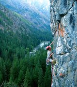 Rock Climbing Photo: Dave pulling a fantastic move up the arete. Credit...