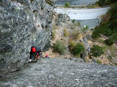 Rock Climbing Photo: Nick pulling through a cruxy layback section. Cred...