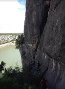 Rock Climbing Photo: Climbers on the belay ledge on the left side of La...