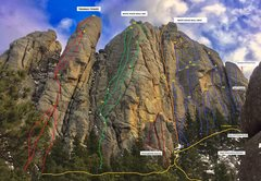 Rock Climbing Photo: Emancipation Topo viewed from base of Marker. (Som...