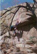 Rock Climbing Photo: Ed Sewall starting the traverse on Latex Sheath.