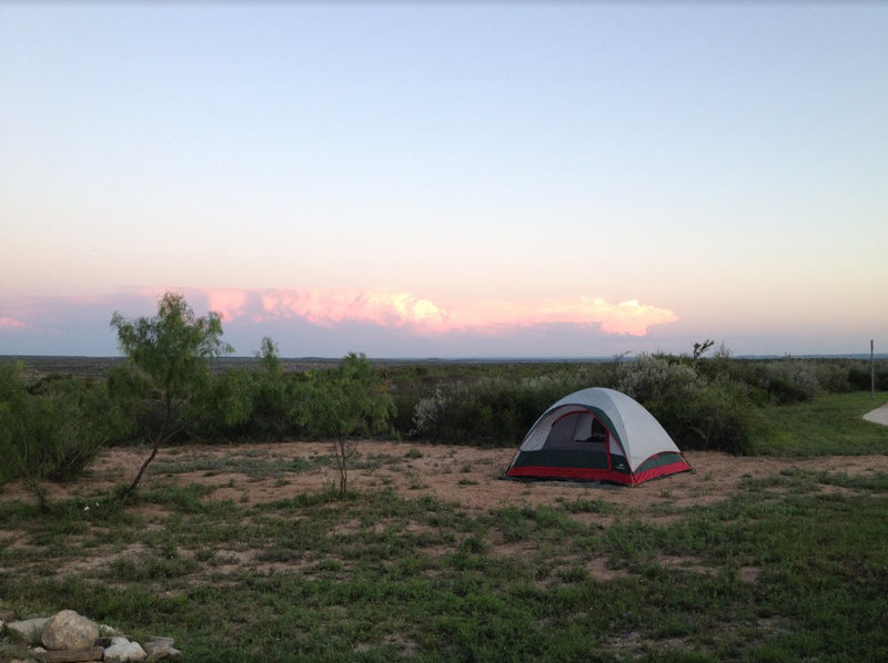 Camping at the near by Seminole Canyon State Park. On a clear day, the ridge line of the far off mountains in Mexico can be seen.