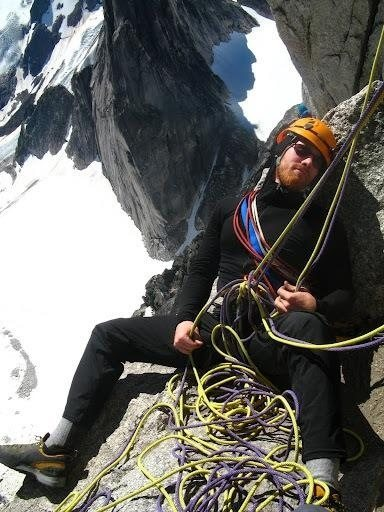 Tied off belay, due to jam at the gendarme, on the Kain Route, Bugaboo Spire