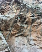 Rock Climbing Photo: Clipping the second to last bolt before the anchor...