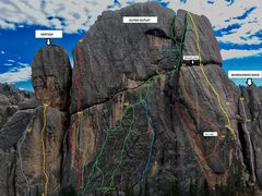 Rock Climbing Photo: OUTER OUTLET TOPO (again may not be 100% perfect b...