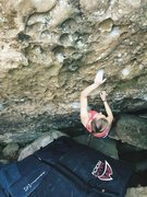 Rock Climbing Photo: Monika works up to the topout on the warmup wall, ...