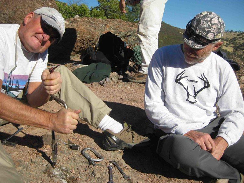 Rock Climbing Photo: Me hand spinning a bolt as videographer Dan Merric...