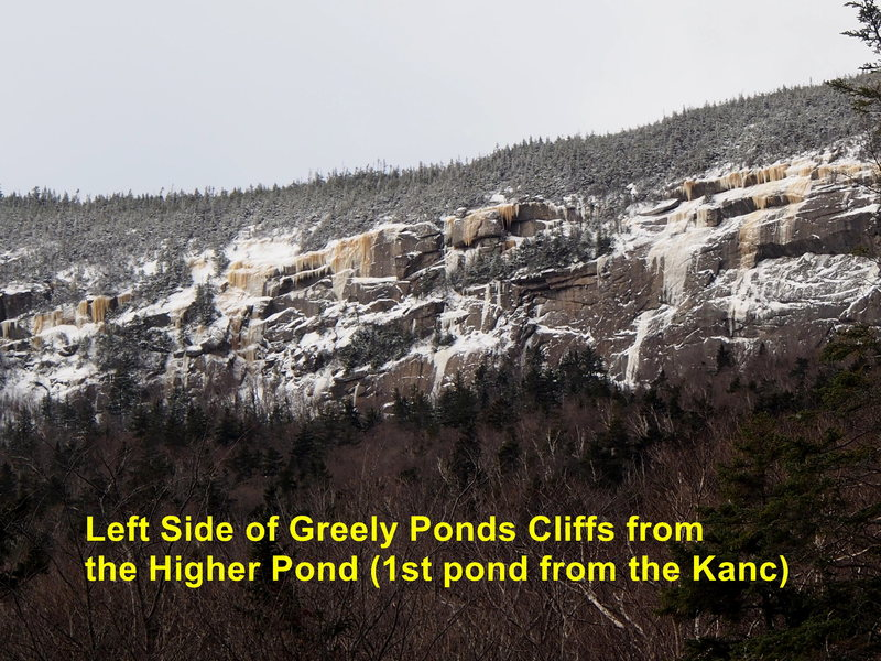 """Upper Wall"" - West side of Greely Ponds. Have these climbs been done??? (""Drool of the Beast"" is to the right on the same cliff) Jan 29, 2017 [photo from left ( East) shore of the pond, about 3/4ths of the way ""down"".)"