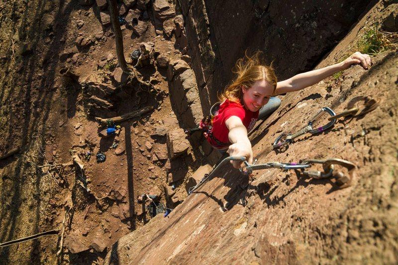 Rock Climbing Photo: Cara on Shit Face