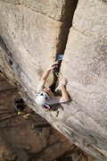 Rock Climbing Photo: Jack protects the final section of Laurel - a wond...