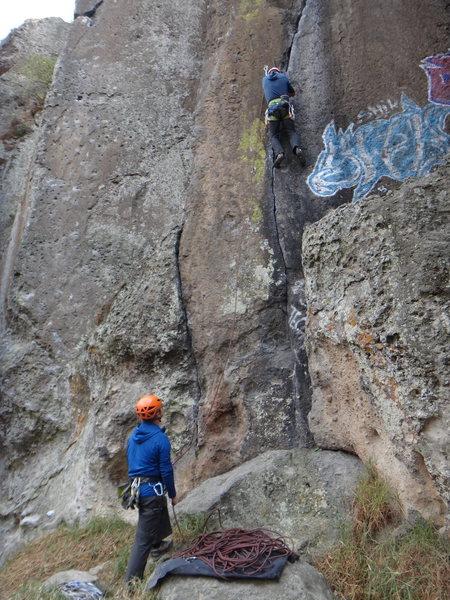 Steve Levin climbing Fuera de los Limites, belayed by Bernardo Beteta.<br> <br> Photo by Mauricio Herrera Cuadra.
