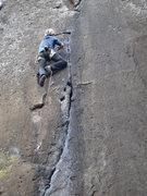 Rock Climbing Photo: Steve Levin at the upper crux of Fuera de los Limi...