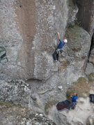 Rock Climbing Photo: Steve Levin climbs Secuencia Inicial, belayed by B...