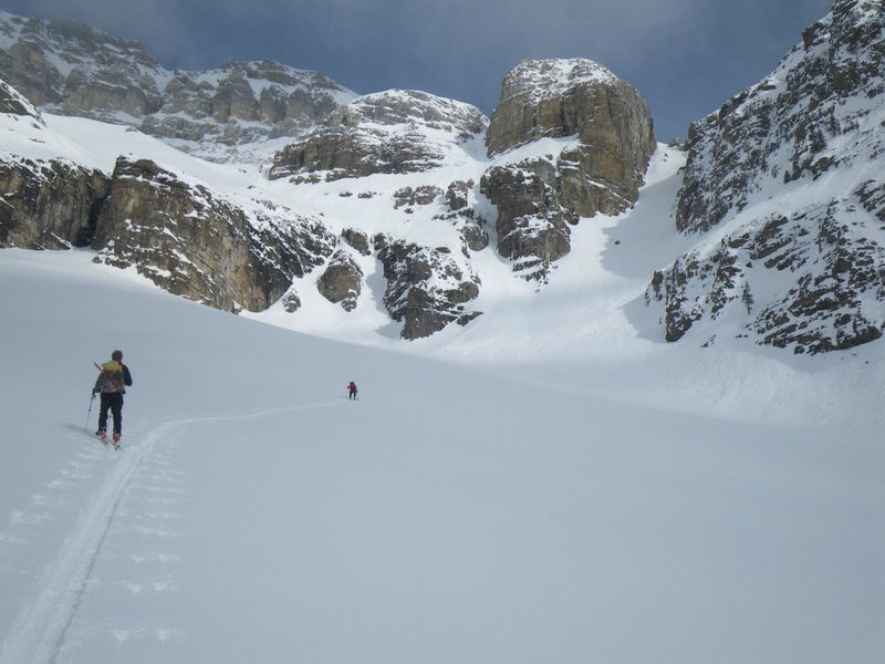 Rock Climbing Photo: Skinning up the South Couloir on Cathedral Mountai...