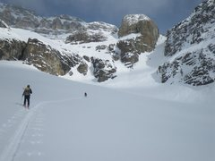 Skinning up the South Couloir on Cathedral Mountain, Canadian Rockies