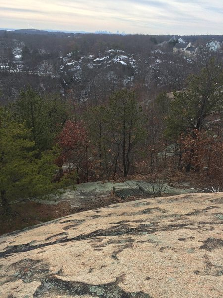 A view of Phaeton Rock from the top of The Great Slab.