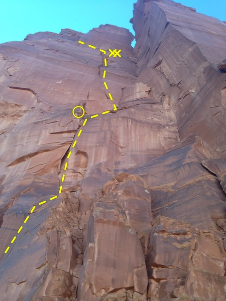 Rock Climbing Photo: The x's show the second rappel anchors. The lo...
