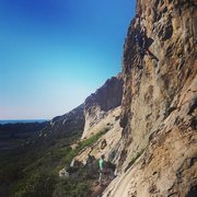 Rock Climbing Photo: Aaron Formella mid-crux on Olas Negras. Aaron Stir...