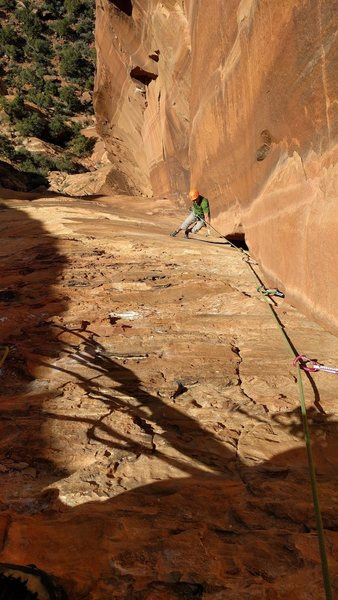 Rock Climbing Photo: Wide laybacking after exiting the worm hole