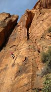 Rock Climbing Photo: Rapping off the anchors of P1, with a good view of...