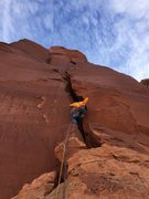 Rock Climbing Photo: About to enter the 5.8 chimney on pitch 4 of Satel...