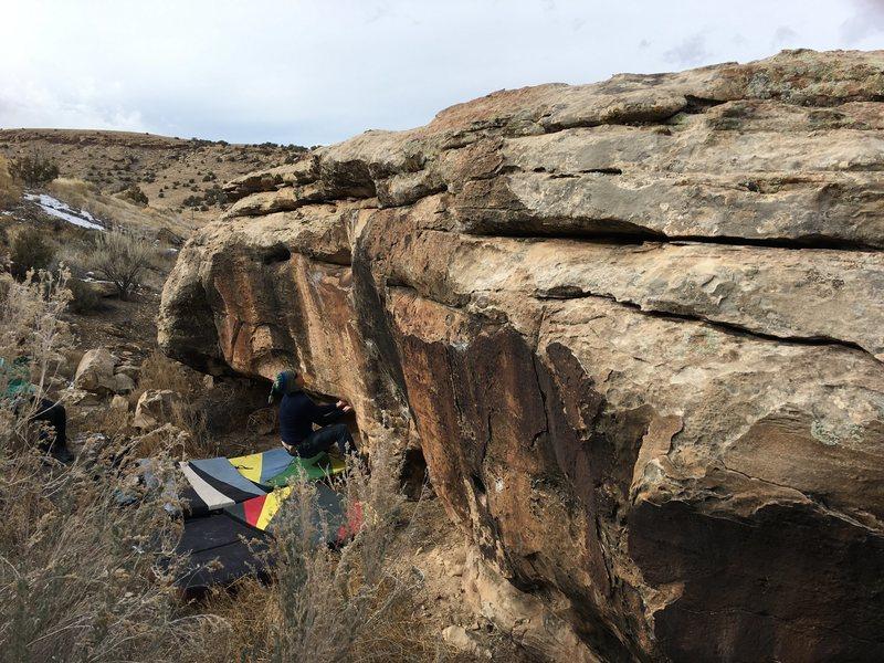 Rock Climbing Photo: Bag at the sit start of Poopty Jones.