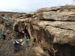 Rock Climbing Photo: Bag 1/2 way through the crux.
