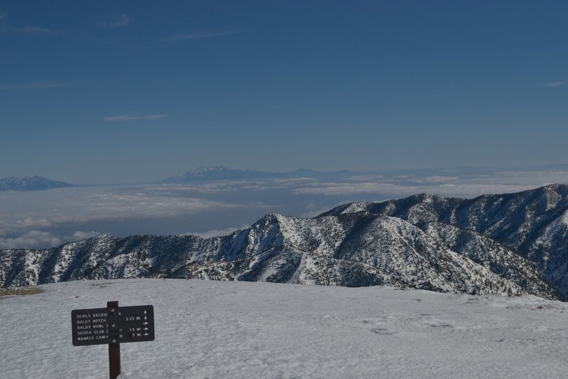 East view from the summit with the San Bernardino and San Jacinto mountains visible