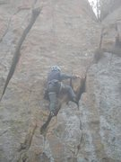 Rock Climbing Photo: Reaching the block at mid-route. The photo's n...