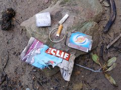 Rock Climbing Photo: Climber generated litter at the base of the Corpse...