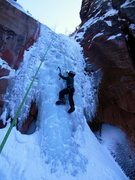 Rock Climbing Photo: My 10 year old son on the first pitch of Hidden Ha...