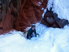 Rock Climbing Photo: Lowe smiling his way up pitch two of Hidden Haven ...