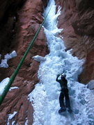 Rock Climbing Photo: Lowe starting p4 of Hidden Haven in WI3 conditions...
