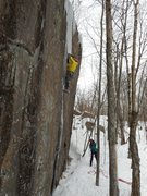 Rock Climbing Photo: Sustained moves on a mere dribble of ice intersper...