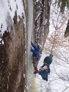 Rock Climbing Photo: Good ice for the FA. Until it all cracked in front...