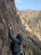 Rock Climbing Photo: William is working the moves on Dr Coolhead to see...