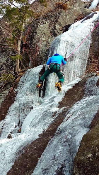 Rock Climbing Photo: Crux move on thin shell ice.