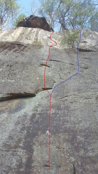 """Rock Climbing Photo: Line in red- """"Is It Safe?"""" Line in blue-..."""