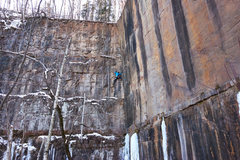 Rock Climbing Photo: Nate Erickson in the cold corner of Soggy Bottom B...