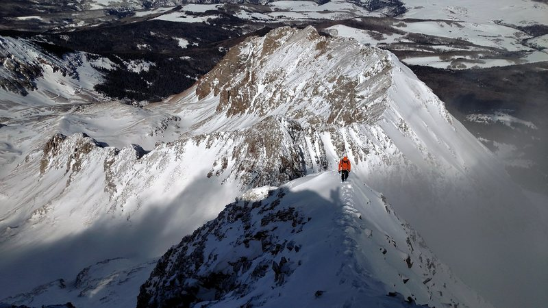 Rock Climbing Photo: Looking down the NW Ridge. The terrain eases.
