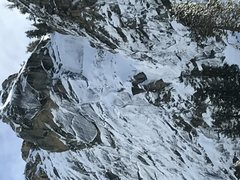 Rock Climbing Photo: Moonage Daydream from Tokopah Valley Floor. Snow c...