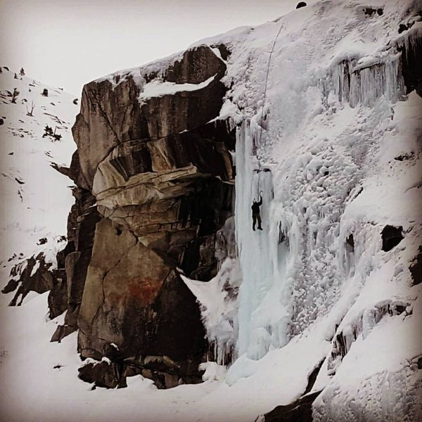 WI5 Pillar far left 1-5-17.<br> <br> The bolts to top rope this are on a boulder about 30 feet left of the last double tree on top.