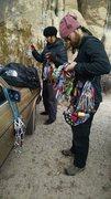 Rock Climbing Photo: Racking up at Feudal Wall