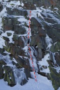 Rock Climbing Photo: The Rancor climbs up ice, snow and rock in the mid...