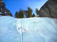 Rock Climbing Photo: Last Pitch of Moonage Daydream top roped. Start at...