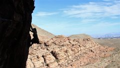 Rock Climbing Photo: christina as she passes the crux with vegas in the...